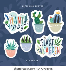 House plant sticker pack. Hand drawn scandinavian style illustrations and lettering on tropical background. Cactus and succulents in cartoon style, Motivation phrases, ready to print