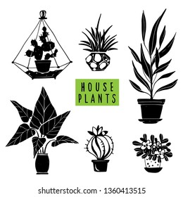 House plants black hand drawn set. Potted flowers. Isolated on white background. Handwriting font
