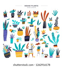 House plants color hand drawn illustrations set. Home decorations and interior design elements. House plants flat handdrawn cliparts. Flower pots sketch collection. Isolated scandinavian cartoon items