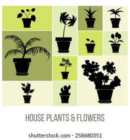 House Plants and Flowers in Pot Silhouettes, Flat Vector Illustration