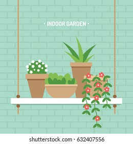 House plants on hanging shelf indoor garden vector illustration