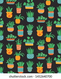 House plants in pot colorful trendy seamless vector pattern