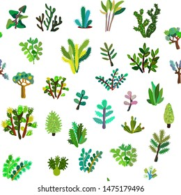 House plants seamless pattern. Vector graphic illustration