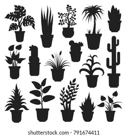 House plants silhouettes. Plant grown in a container, pot inside a house or flat, office air purification, ornamental green plant. Vector flat style cartoon illustration isolated on white background