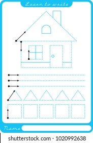 House. Preschool worksheet for practicing fine motor skills - tracing dashed lines. Tracing Worksheet.  Illustration and vector outline - A4 paper ready to print.