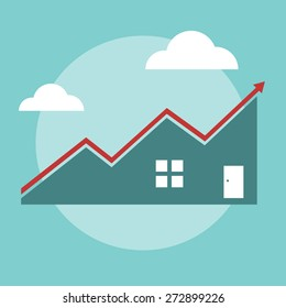 House Price Growth - Vector Illustration