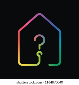 house with question mark icon. line style. Rainbow color and dark background