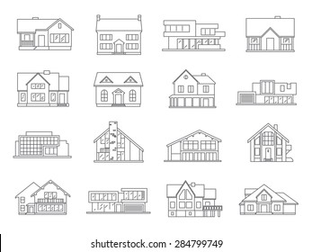 House and real estate building icons flat outline set isolated vector illustration