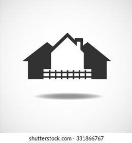 House Real Estate country fence logo design Vector illustration EPS10