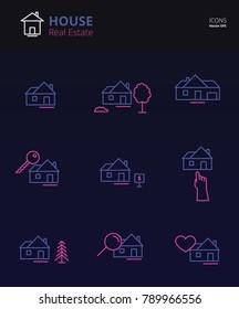 House Real Estate Icons Line Art. Vector Illustration eps10
