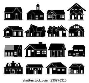 House real estate icons set