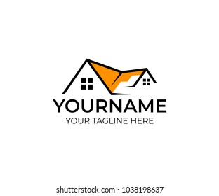 House real estate logo template. Home with window and building roof. Property and realty illustration