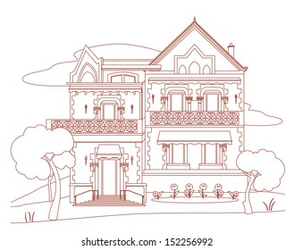 House with red ink