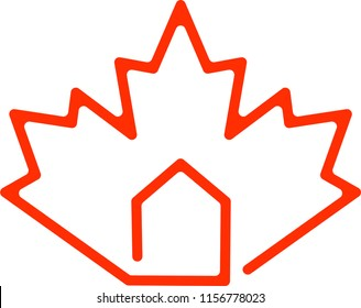 House with Red maple leaf Canadian Visa symbol. real estate in Canada logo. Concept of buy apartment property in canada or Provincial immigration and migration family programs. Live and work in Canada