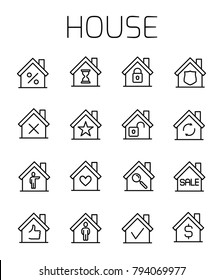 House related vector icon set. Well-crafted sign in thin line style with editable stroke. Vector symbols isolated on a white background. Simple pictograms.