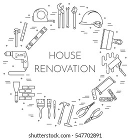 House remodel banner with elements of building repair or renovation isolated on white background. Outline vector illustration of pictograms of different building tools and materials.