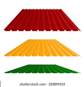 House remodel: corrugated metal roof (corrugated metal siding, profiled sheeting), vector illustration