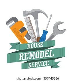 house remodel tools. Home repair service. House repair company logo. Flat style toola for building, remodel and repair, house remodel icon, home repair icon, diy tools