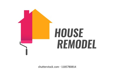 House Remodel, Vector Logo with Dyeing House and Caption. Style emblem isolated on white background.
