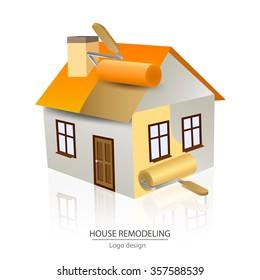 House remodeling logo design, paint roller