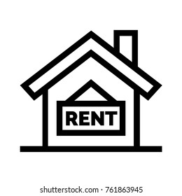 House for rent flat icon. Real estate property for rental linear vector illustration. Isolated on white background.