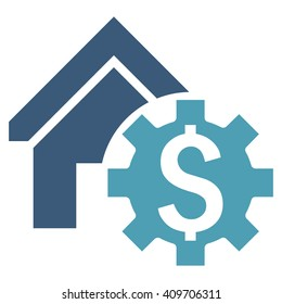 House Rent Options vector icon. Style is bicolor flat symbol, cyan and blue colors, white background.