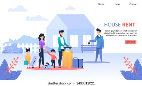 House Rent Service Flat Landing Page. Realtor Gives Keys to Family from New Home. Wife and Husband with Kids Make Deal. Success Bargain, Real Estate, Apartments Investments Vector Flat Illustration