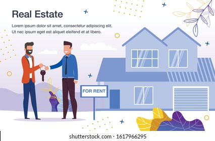 House Rent Service Trendy Flat Vector Advertising Banner, Promo Poster Template. Real Estate Property Owner, Realtor Give Keys to New Tenant, Man Renting Comfortable House or Cottage Illustration