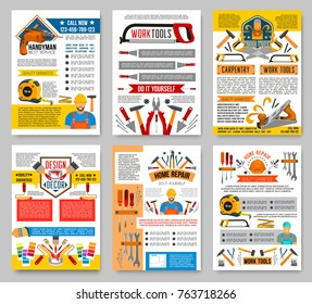 House repair DIY and home construction posters of handyman carpentry work tools. Vector renovation drill, saw or hammer, woodwork grinder and plastering trowel or interior design decor paint brush