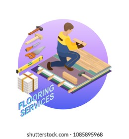House repair isometric template. The Repairer is laying parquet on prepared lined insulated base of premises. Builder in uniform holds a wooden parquet. Parquet service. Vector flat 3d illustration.