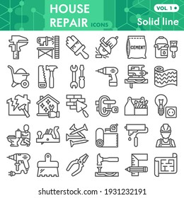 House repair line icon set, Homebuilding and renovating symbols collection or sketches. Construction and repair linear style signs for web and app. Vector graphics isolated on white background