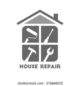 House repair logo with different work tools. Paint roller, screwdriver, hammer and wrench icons.