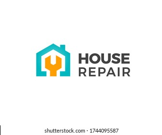 House repair logo. Home renovation project emblem. Wreck tool icon. Maintenance service sign. Isolated garage symbol. Labour force vector illustration.