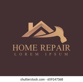 House repair logo. House, Real Estate, Construction, Building Logo. House Vector. Tools icon. Repairs house sign. Home improvement icon. Real estate icon. Property logo.
