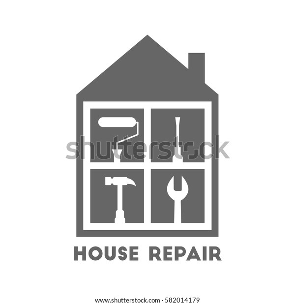 House repair and renovation logo with different work tools. Paint roller, screwdriver, hammer and wrench icons.