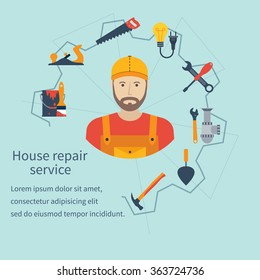 House repair service. Repairman concept construction and home repair. Handyman and icons tools. Maintenance, electrician, plumber, carpenter, painter. Isolated icons flat style. Vector