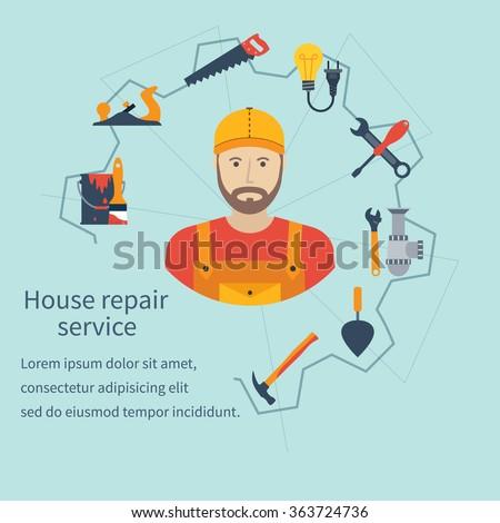 Repairman concept construction and home repair. Handyman and icons tools.  Maintenance 42de738de440