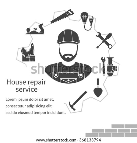 House repair service. Repairman concept construction and home repair.  Handyman and icons tools. Maintenance 94441e6b45a7