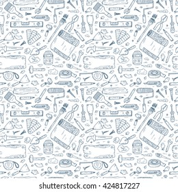 House repair tools vector Seamless pattern. Home improvement icons. Hand Drawn Doodle Tools. Housework.