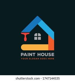 House Repairing, painting, service, decor and repair multi-color icon. Vector logo, label, emblem design. Concept for home decoration, building, house construction etc