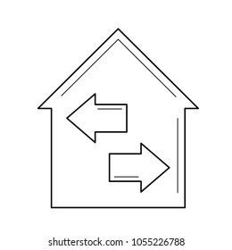 House resale vector line icon isolated on white background. House with two arrows symbolizing resale line icon for infographic, website or app.