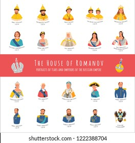 The House of Romanov. Famous dynasty portraits of tsars, emperors and empresses of Russia. Cartoon isolated illustrations for your project