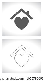 house roof with heart shape - outline concept icon