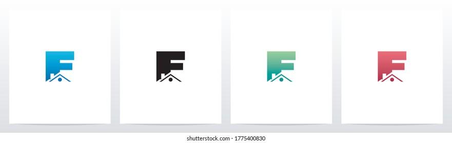 House Roof On Letter Logo Design F
