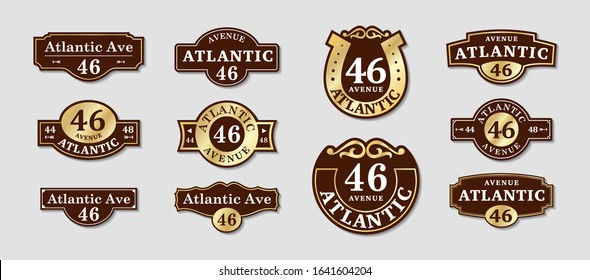 House rooms. VECTOR boards for a sign. Street house nameplate brown and gold.