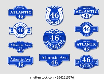 House rooms. VECTOR boards for a sign. Street house plate blue.