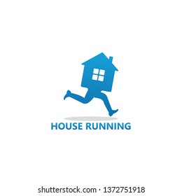 House Running Logo Template Design Vector, Emblem, Design Concept, Creative Symbol, Icon