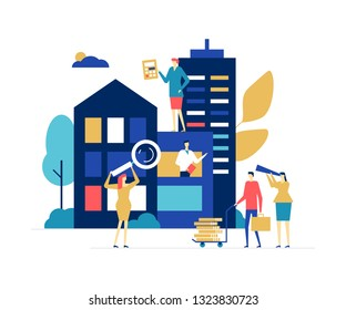 House for sale - colorful flat design style illustration on white background. A composition with male, female homebuyers examining a building through magnifying glass, spyglass, calculating the price