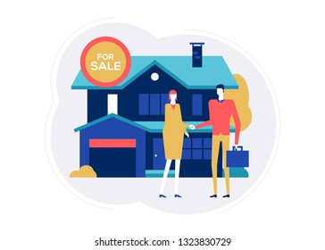 House for sale - colorful flat design style illustration on white background. Bright composition with a woman, homebuyer meeting a real estate agent, image of a nice cottage, building
