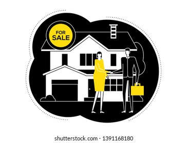 House for sale - flat design style illustration. Black, white and yellow composition with a woman, homebuyer meeting a real estate agent, image of a nice cottage, building, making an agreement
